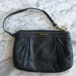 Coach Black Leather Wristlet with Cream Stitching